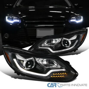 Fit Ford 12 14 Focus Black Projector Headlights Led Drl Strip Signal Lamps