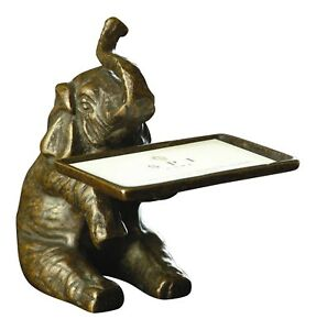 Sitting Elephant Business Card Holder Brass Desk Or Shelf Decor