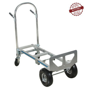 Hand Truck Moving Dolly 2 in 1 Convertible 4 wheel Platform Steel Cart Usa Stock