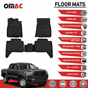 Toyota Tacoma Double Cab Floor Mats Liner 3d Molded Fit Black Interior 2016