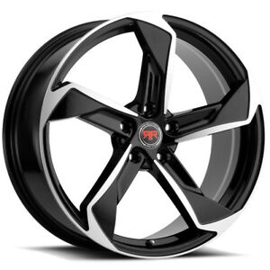4 Revolution Racing R20 18x8 5x112 40mm Black Machined Wheels Rims