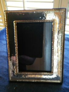 Vintage 5 X 4 Sterling Silver Arts Crafts Hammered English Picture Frame