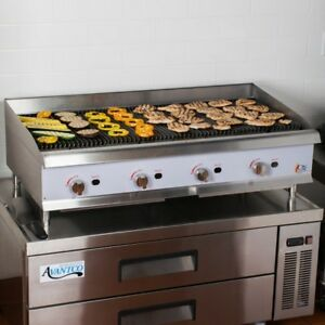 48 Inch Natural Gas Countertop Lava Briquette Charbroiler Grill Commercial Grade