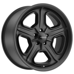 4 15 Inch Vision 147 Daytona 15x8 5x127 5x5 0mm Satin Black Wheels Rims