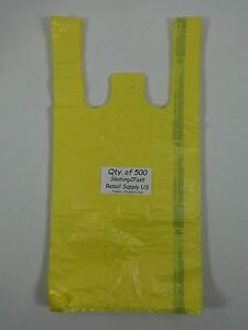 500 Qty Yellow Plastic T shirt Retail Shopping Bags W Handles 8 x5 x16 Sm