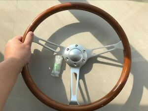 Peach Wood Brushed Steel Steering Wheel 380mm For Antique Vintage Vehicle