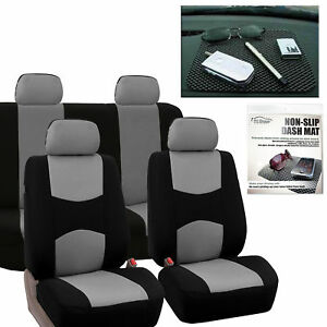 Car Seat Covers Sport Line Complete Set Gray Free Gift Dash Grip Pad
