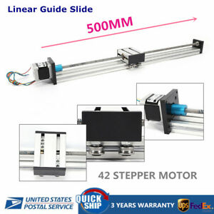 Cnc Linear Guide Slide Actuators Rail Guide Stage 42 Stepping Motor 500mm 12v Us