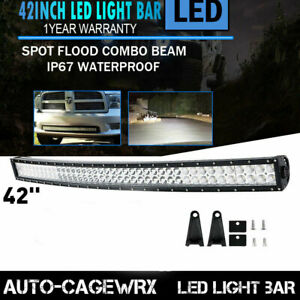42inch Curved Led Light Bar Spot Flood For Jeep Dodge Ram Offroad Suv Vs 40