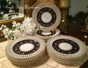 12 Antique German Reticulated Gilt Cabinet Dessert Plates Wilhelm Graef C1890