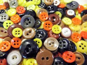 Lot Of 220 China Buttons Small Yellow Brown Orange Black