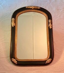 Victorian Wall Mirror Painted Wood Frame Gilt Gesso Trim 24 X 16 Ca1890 1910