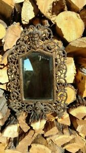 Antique Victorian B H Bronzed Metal Bacchus Party Mirror