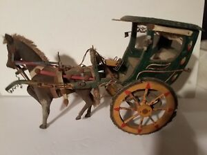 Antique Folk Art Primitive Painted Wood Metal Horse Carriage