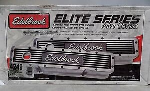 Edelbrock 4249 Elite Series Tall Profile Chevy Valve Covers New