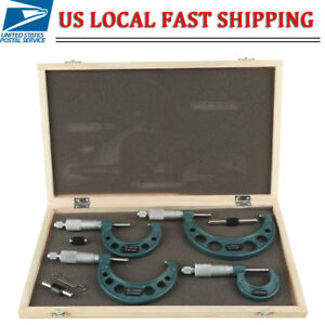0 4 0 100mm 0 01mm Premium Outside Micrometer Set Machinist Tool Set