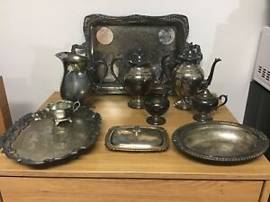 Lot Of 12 Antique Tea Set Platter Silverplate Wm Rogers Eales Mfg Corp Unknown
