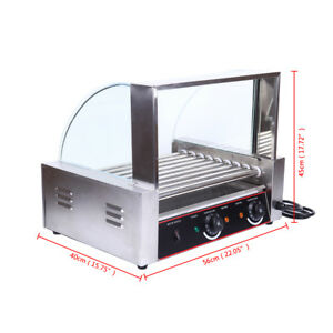 1260w Portable Stainless 24 Hot Dog 9 Roller Grilling Machine W Cover Buffet Us