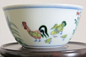 A Fine Doucai Chicken Cup Marked Ming Dynasty Chenghua Period