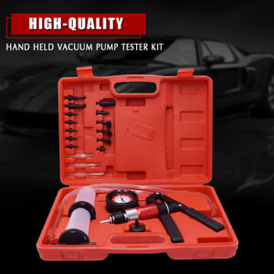 21pcs Hand Held Vacuum Pressure Pump Tester Kit Brake Fluid Bleeder Bleeding