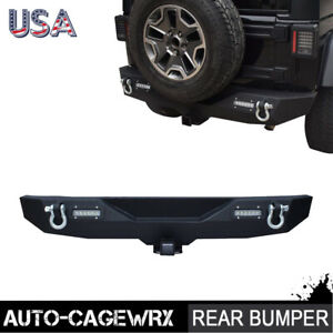 Textured Front Bumper Winch Plate 2x Led Light D Ring Fit 97 06 Jeep Wrangler Tj