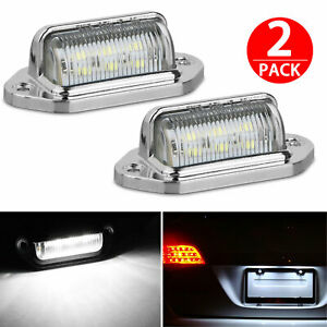 2x Universal 6 Smd Led License Plate Tag Lights Lamps For Truck Suv Trailer Van