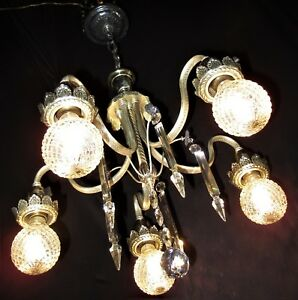 Vtg Deco French Cast Brass 32 Lead Crystals Chandelier Ceiling Fixture 1930 S