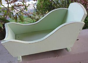 Antique Farmhouse Wood Doll Cradle Vintage Primitive Seafoam Green Country Folk