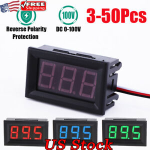 Mini Dc 100v Voltmeter Gauge Voltage Volt Panel Meter Red Blue Green Led Display