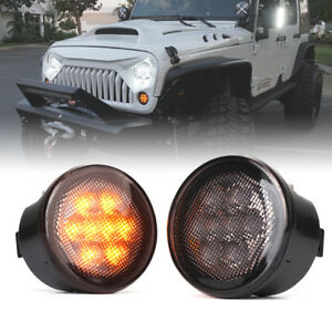 Xprite Led Turn Signal Light Assembly Smoke Lens For 2007 2018 Jeep Wrangler Jk
