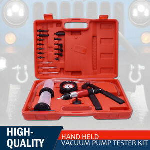 21 Pc Brake Fluid Bleeder Hand Held Vacuum And Pressure Pump Tester Kit