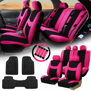 Car Seat Covers For Auto Pink W Rubber Floor Mats Steering Wheel Belt Pads