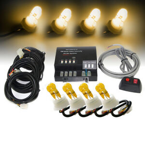 Amber Hide a way 4 Hid Bulbs Emergency Hazard Warning Strobe Lights Bulbs Kits