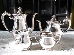 Antique Silver Plate Tea Set Coffee Service Glenrose Flower Finial