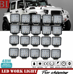 20x 48w Led Work Lights Driving Roof Pods Flood 4inch Offroad Lamp Atv Ute