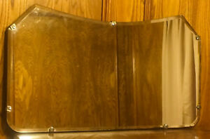 Vintage 14 7 8 X 26 Beveled Glass Mirror With Fleur Clips