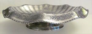 Antique Vtg Chased Reed Barton Silverplate Footed Compote Bon Bon Candy Dish