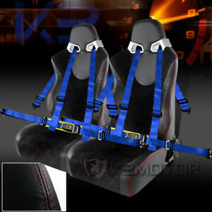 2x Black Suede Pvc Leather Check Pattern Racing Seats Blue 4 Point Seat Belts