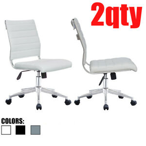 Set Of 2 Armless Office Chairs Height Tilt Adjustable Leather Seat Swivel