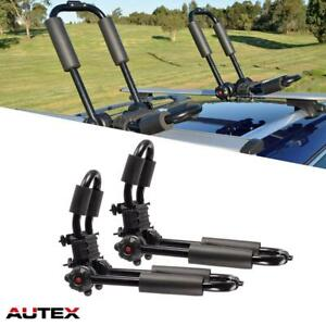 2 Universal Foldable Kayak Snowboard Boat Carrier Roof Rack Rail Cross Bar J Bar