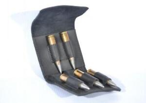 Leather Rifle Cartridges Wallet Ammo Case Gun Hunting Bullet Holder 5 Rounds New