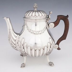 Antique French Sterling Silver Teapot Tea Coffee Pot Figural Hoof Feet