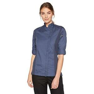Chef Works Women s Hartford Coat Blue Small Clothing