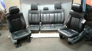 Complete Set Front Rear Seats Black Leather 6 Way Power Crew Cab Ford F150 11 14