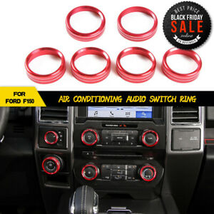 Fit Ford F150 2016up Air Conditioner Audio Switch Decor Ring Cover Trim Metal