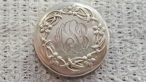 Gorham Sterling Silver Repousse Pill Snuff Or Trinket Box Monogrammed