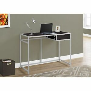 Cappuccino And Silver Metal 42 inch Computer Desk