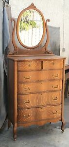 Vtg American Tiger Oak Tall Serpentine Highboy Dresser Mirror Restored La Area