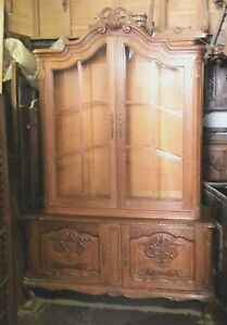 French Style Oak China Display Cabinet Louis Xv Chippendale Ball Claw La Area