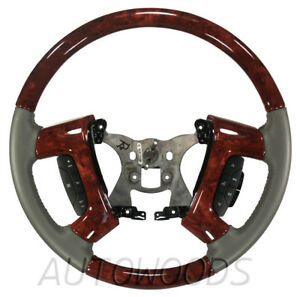 Autowoods Custom Woodgrain Steering Wheel Titanium Side Leather